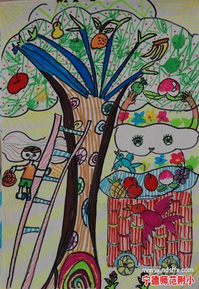 幼儿绘画作品 大树